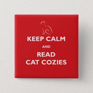 Bóton Quadrado 5.08cm Mantenha calmo e leia o botão quadrado de Cozies