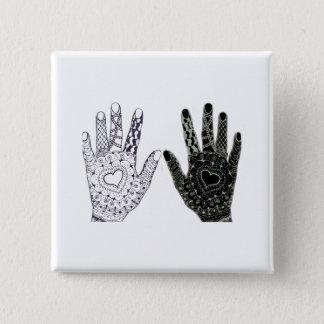 Bóton Quadrado 5.08cm Mãos Doodled coração tiradas mão