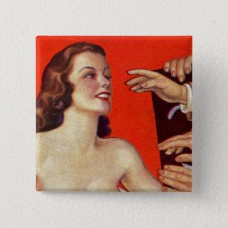 Bóton Quadrado 5.08cm Mãos surreais retros da garra do kitsch 30s do