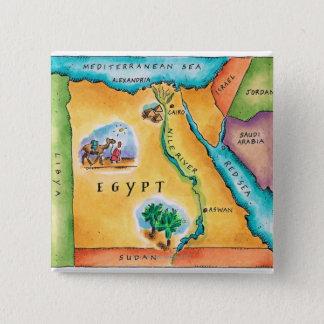 Bóton Quadrado 5.08cm Mapa de Egipto