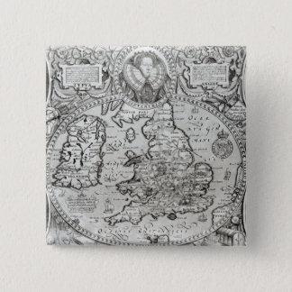Bóton Quadrado 5.08cm Mapa de Inglaterra durante o reino de