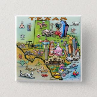 Bóton Quadrado 5.08cm Mapa do divertimento de Texas