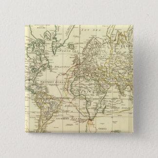 Bóton Quadrado 5.08cm Mapa do mundo 5