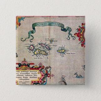 Bóton Quadrado 5.08cm Mapa velho de Açores - exploração da navigação do