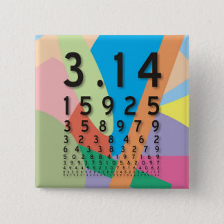 Bóton Quadrado 5.08cm Maths: a constante matemática colorida do Pi