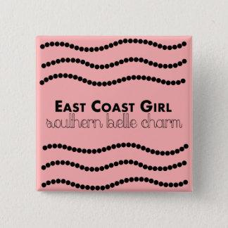 Bóton Quadrado 5.08cm Menina da costa leste com encanto do sul do Belle
