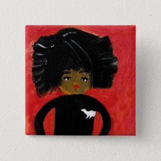 Bóton Quadrado 5.08cm Menina do Afro