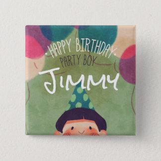 Bóton Quadrado 5.08cm Menino feliz da festa de aniversário da ilustração