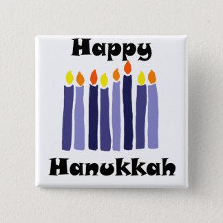 Bóton Quadrado 5.08cm Menorah legal Candles a arte feliz de Hanukkah