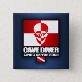 Bóton Quadrado 5.08cm Mergulhador da caverna - vivendo em The Edge