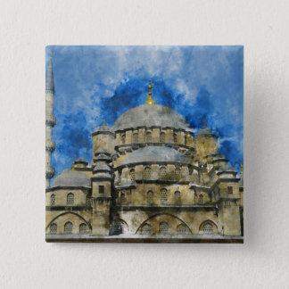 Bóton Quadrado 5.08cm Mesquita azul em Istambul Turquia
