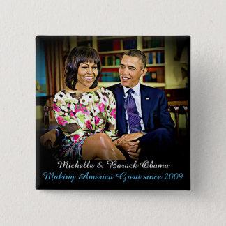 Bóton Quadrado 5.08cm Michelle & Barack Obama, fazendo o excelente de