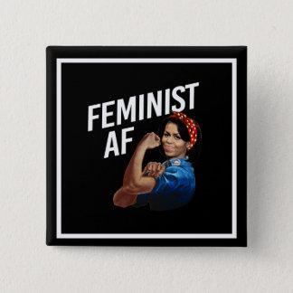 Bóton Quadrado 5.08cm Michelle Obama - AF feminista - branco --