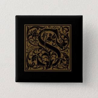 Bóton Quadrado 5.08cm Monograma antigo de S