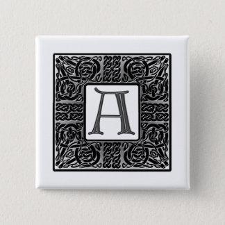 """Bóton Quadrado 5.08cm Monograma de prata do céltico """"A"""""""