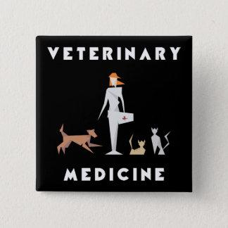 Bóton Quadrado 5.08cm Mulher geométrica da medicina veterinária