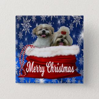 Bóton Quadrado 5.08cm Natal do botão do tzu de Shih