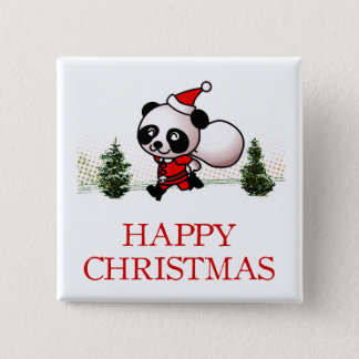 Bóton Quadrado 5.08cm Natal feliz da panda bonito