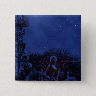 Bóton Quadrado 5.08cm Natividade da noite estrelado