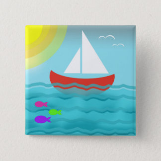 Bóton Quadrado 5.08cm Navegando o chique náutico do marinho azul do