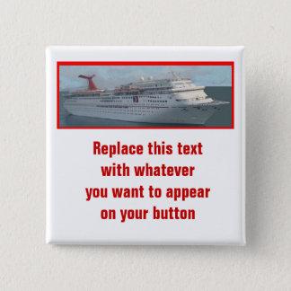 Bóton Quadrado 5.08cm Navio de cruzeiros Button-CIM1a customizável