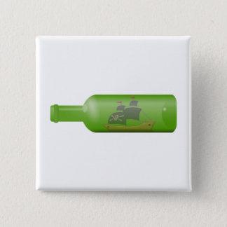 Bóton Quadrado 5.08cm Navio em uma garrafa