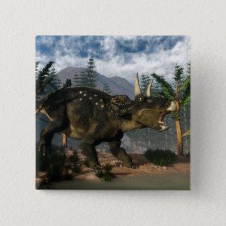 Bóton Quadrado 5.08cm Nedoceratops que ruje ao funcionar - 3D rendem
