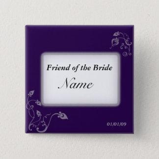 Bóton Quadrado 5.08cm Nome de etiqueta do casamento - videiras de Puple
