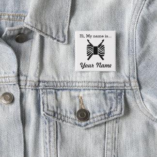 Bóton Quadrado 5.08cm Nome de etiqueta do partido do artesanato do