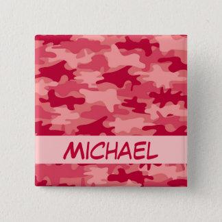Bóton Quadrado 5.08cm Nome vermelho da camuflagem de Camo personalizado