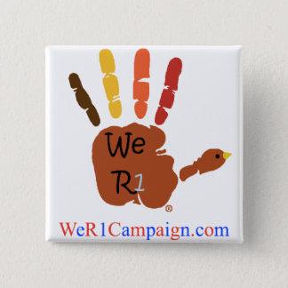 Bóton Quadrado 5.08cm Nós botão da mão da acção de graças R1