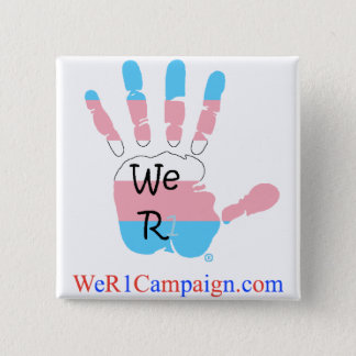 Bóton Quadrado 5.08cm Nós botão da mão do Transgender R1