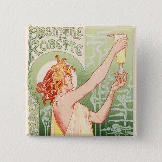Bóton Quadrado 5.08cm O absinto Robette - poster vintage do álcool