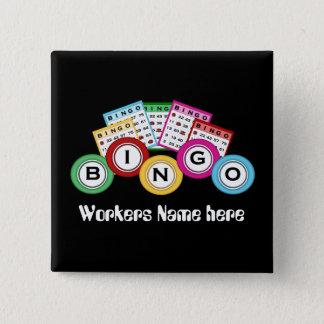 Bóton Quadrado 5.08cm O Bingo Salão adiciona o botão conhecido do