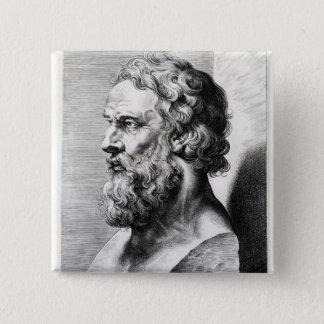 Bóton Quadrado 5.08cm O busto de Plato gravou por Lucas Emil