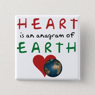 Bóton Quadrado 5.08cm O coração é anagrama da terra