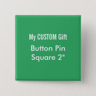 """Bóton Quadrado 5.08cm O costume imprimiu 2"""" VERDE quadrado do Pin do"""