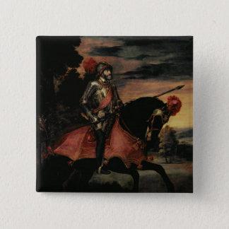 Bóton Quadrado 5.08cm O imperador Charles V a cavalo