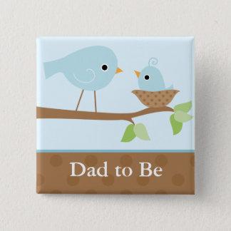 Bóton Quadrado 5.08cm O ninho de pássaro de bebê (azul)