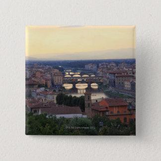 Bóton Quadrado 5.08cm O rio de Arno e o Ponte Vecchio em Florença,