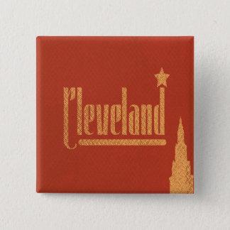 Bóton Quadrado 5.08cm O vintage alinha o botão de Cleveland Ohio