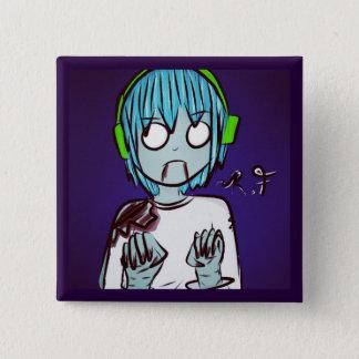Bóton Quadrado 5.08cm O zombi caçoa o Pin: Menino do Gamer