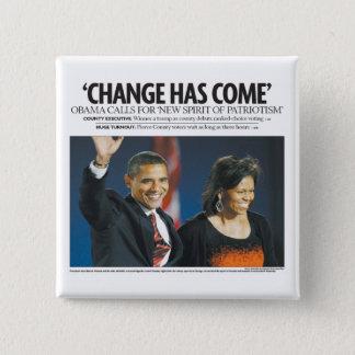 Bóton Quadrado 5.08cm Obama: Mude tem o botão vindo