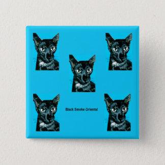 Bóton Quadrado 5.08cm ~ oriental do gato do fumo do preto do ~ do ~Asia