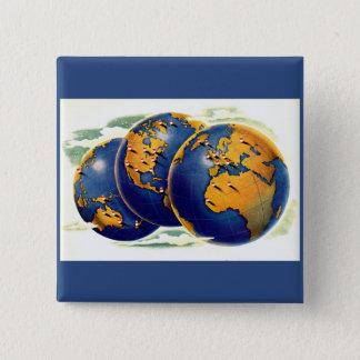 Bóton Quadrado 5.08cm os anos 40 como o mundo giram três vistas da terra