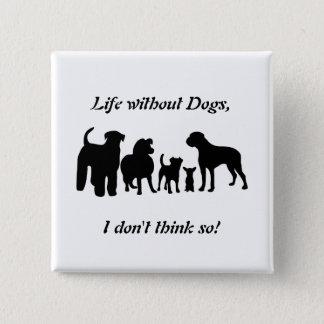 Bóton Quadrado 5.08cm Os cães produzem a silhueta preta do grupo, botão,