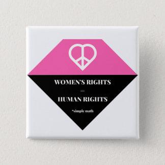 Bóton Quadrado 5.08cm Os direitos das mulheres do botão são direitos