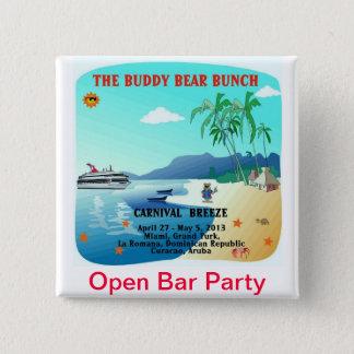 Bóton Quadrado 5.08cm Os ursos do amigo abrem o partido do bar