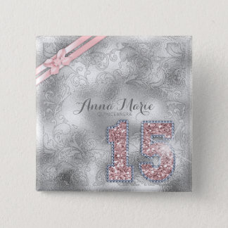 Bóton Quadrado 5.08cm Ouro cor-de-rosa ID382 aniversário de prata de