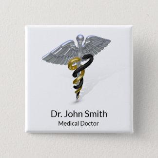 Bóton Quadrado 5.08cm Ouro de prata médico do preto do Caduceus - botão